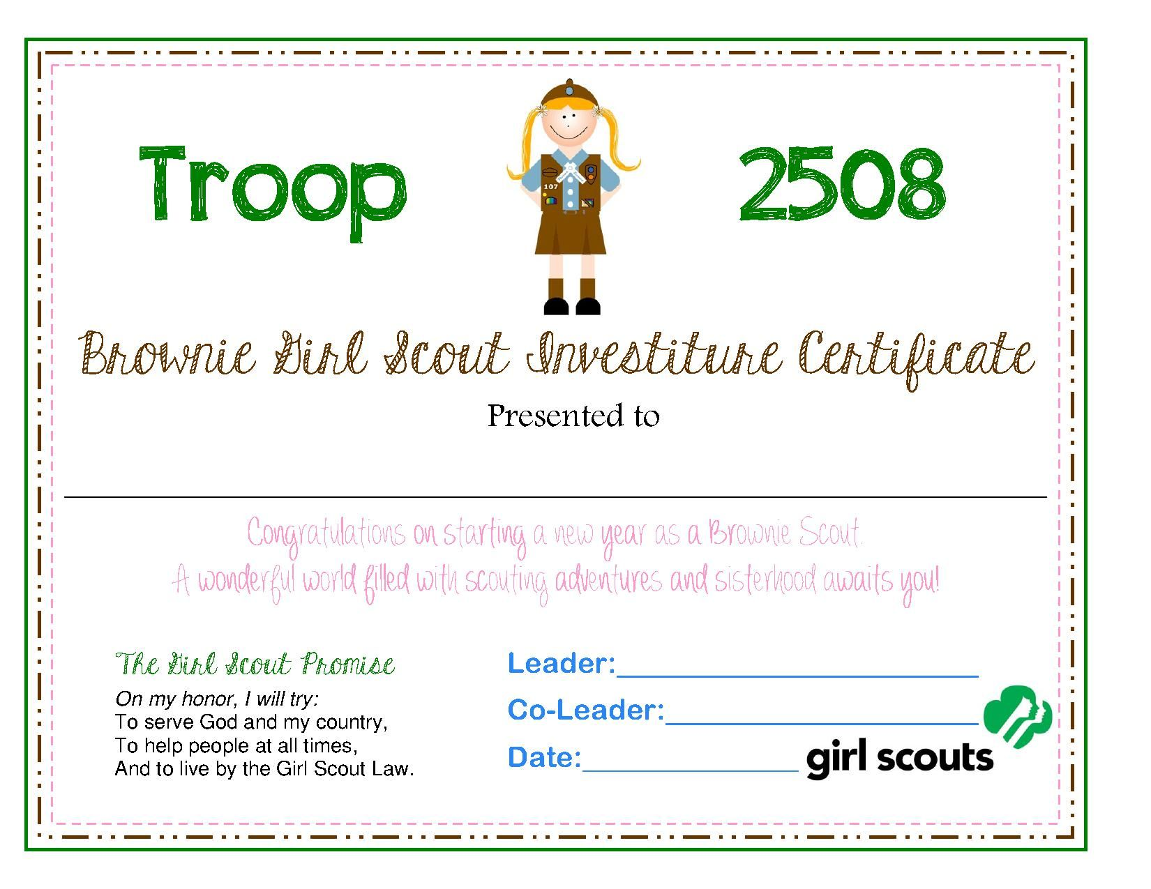 Brownie Investiture Certificate | Brownie Girl Scout certificates | P ...