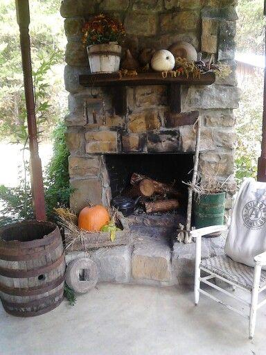 Back porch fireplace primitives christmas halloween for Back porch fireplace