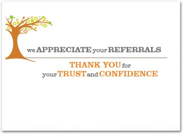 Business Referral Card Thank You For Your Referral Pop By Gift Ideas Pinterest Business