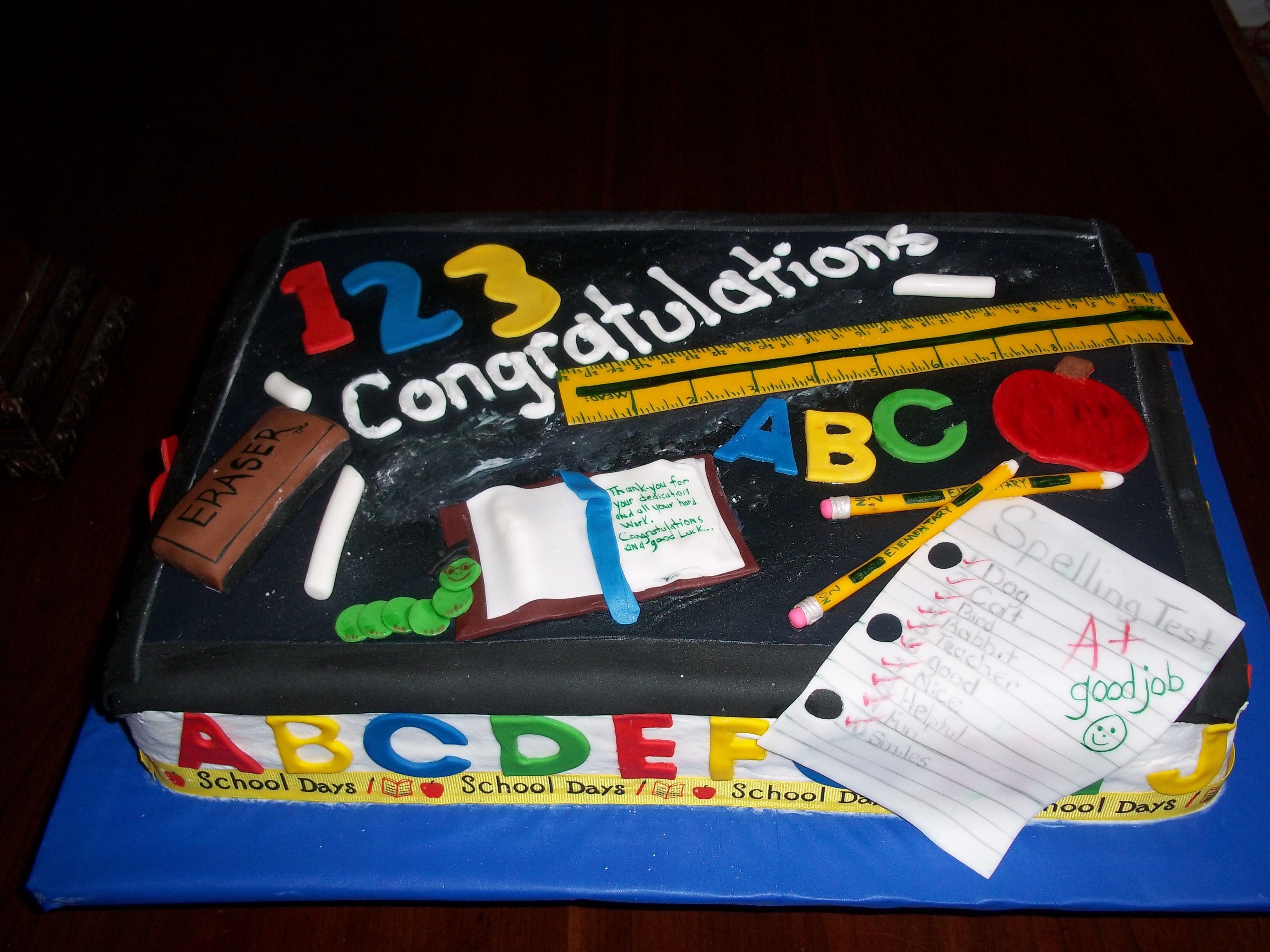 Pin Teacher Retirement Cake Cookiecupcake Ideas Cake on ...