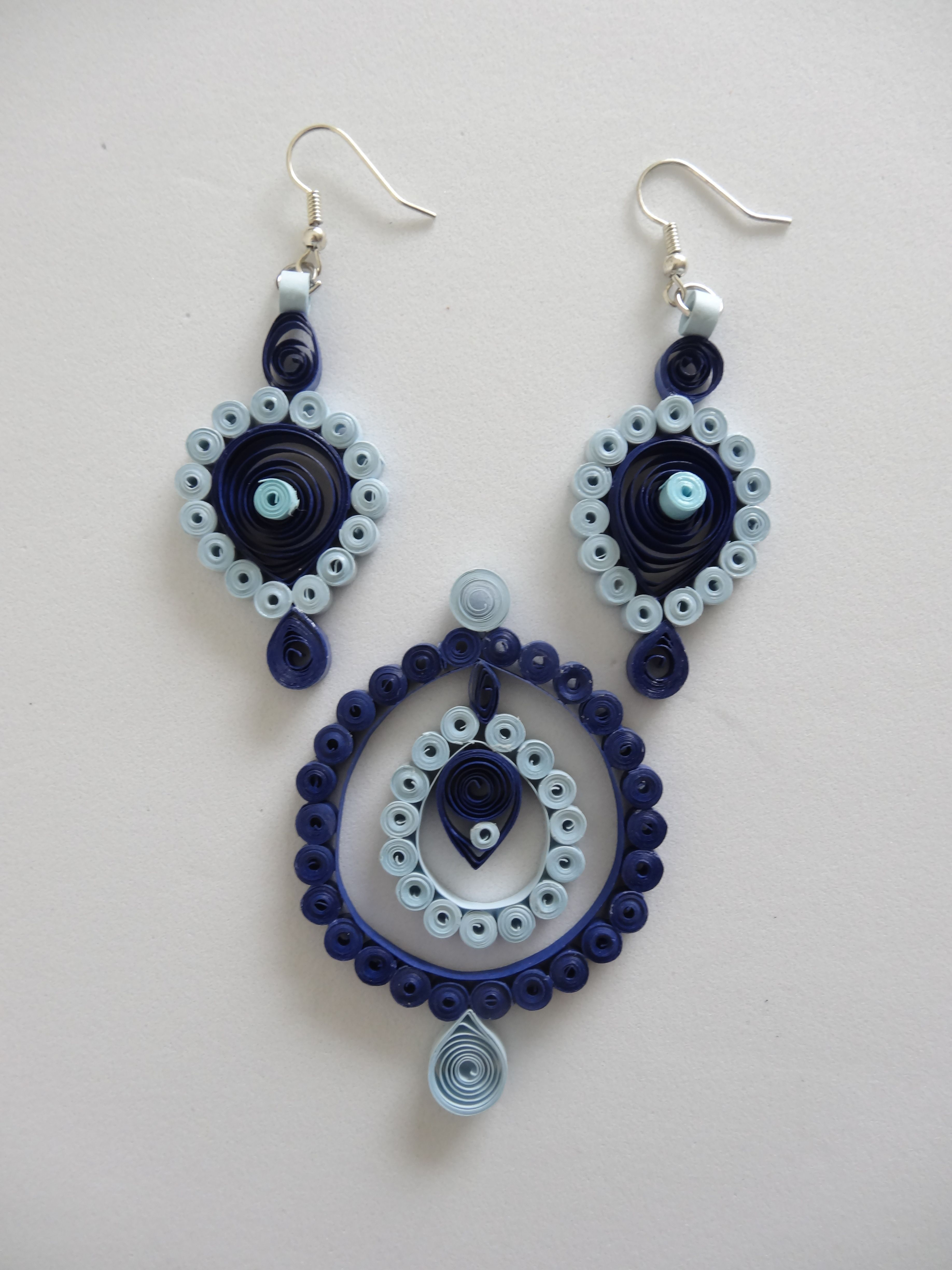 blue paper quilled earring pendant set quilled jewelry