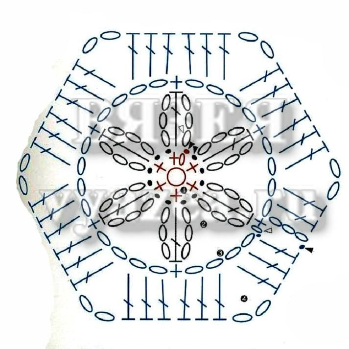 Вязание крючком шестиугольник 93