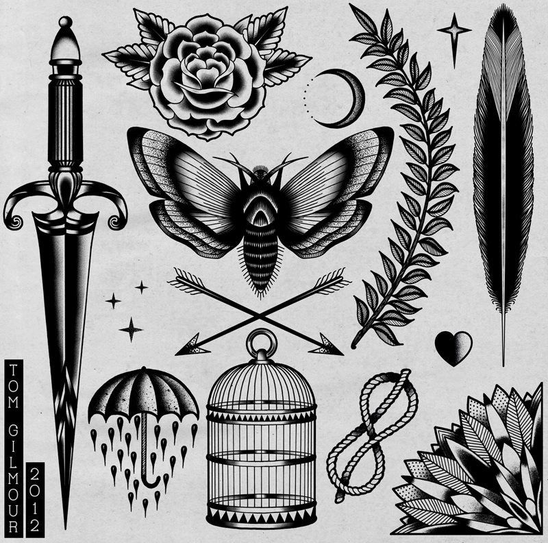 Tattoo flash by tom gilmour tattoos pinterest for Traditional black and grey tattoo