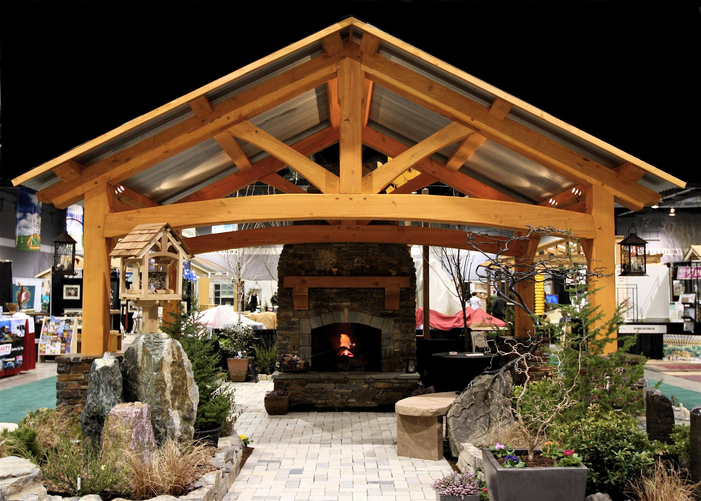 Backyard Room Kits : Outdoor Living Room with a fireplace  Timber Frame Pavilion Kits  P