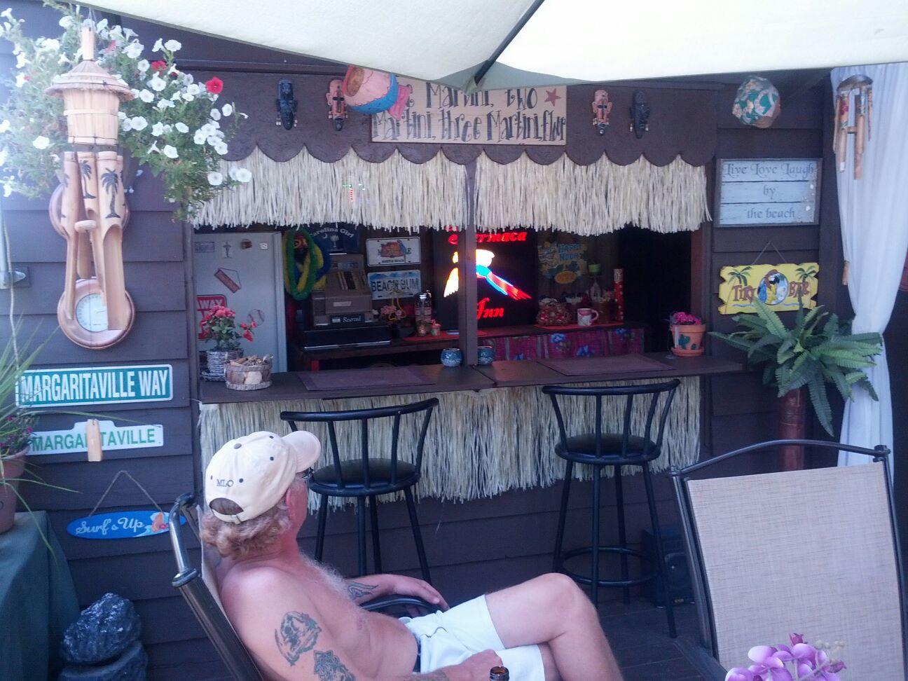 Backyard Tiki Bar Ideas : Our homemade backyard tiki bar  Tiki bar patio ideas  Pinterest