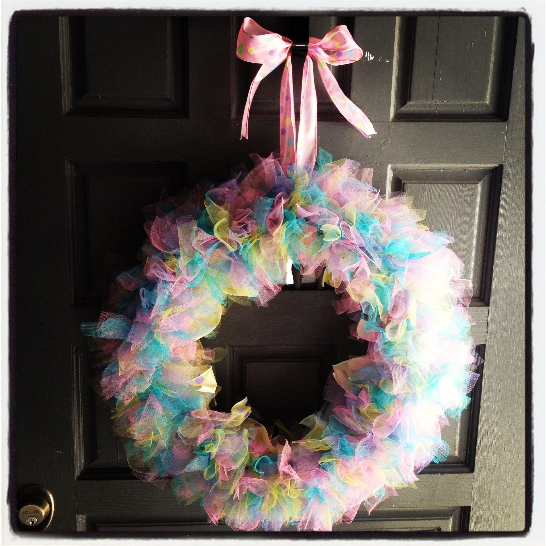 Tulle Easter Wreath For Front Door Wreaths Door Decor