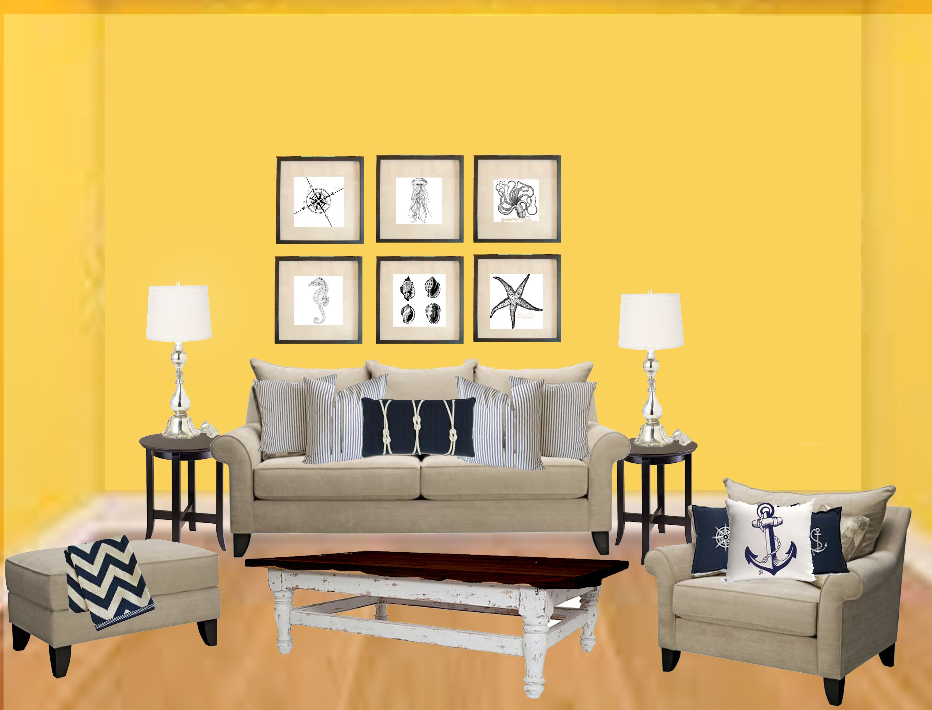 Nautical living room concept design appeals on a dime for Design on a dime living room ideas