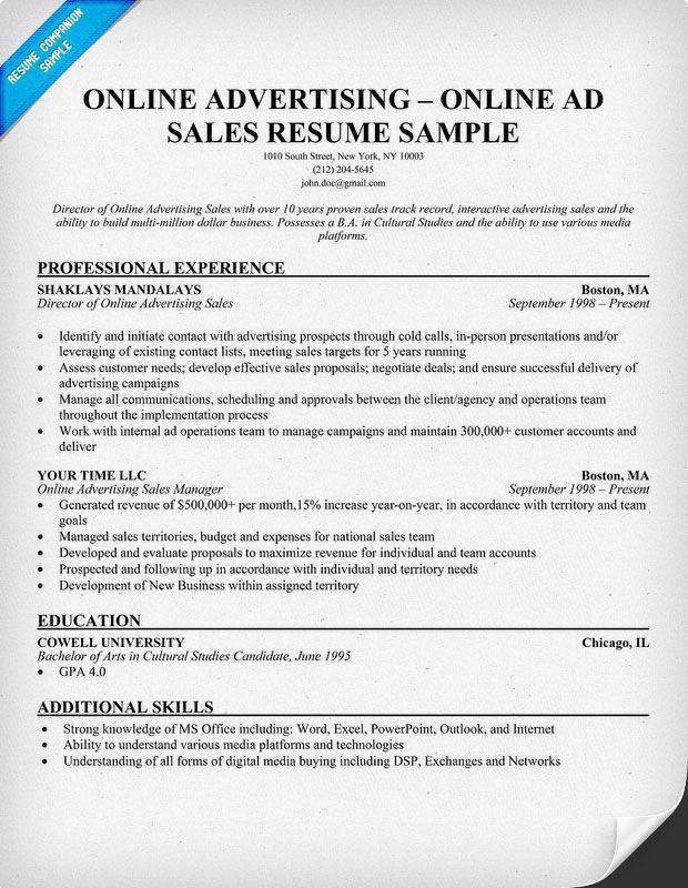 Sales Resume Example  Sample