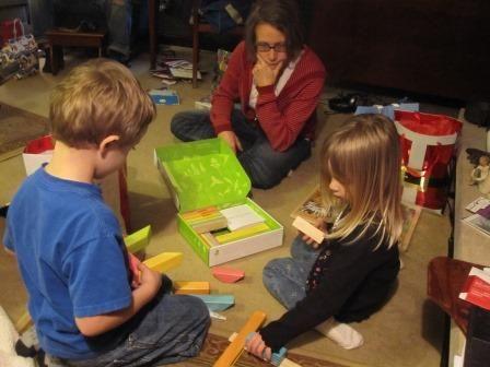 Uncle Matt gave them magnetic wooden blocks