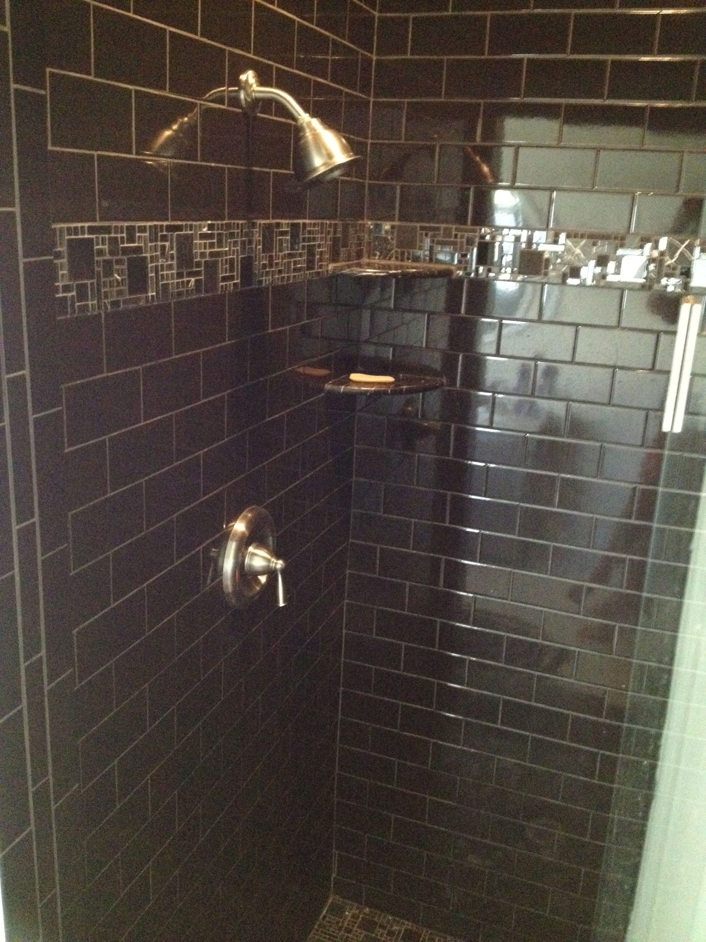 Black tiled shower stall in mbr for the home pinterest Tile shower stalls