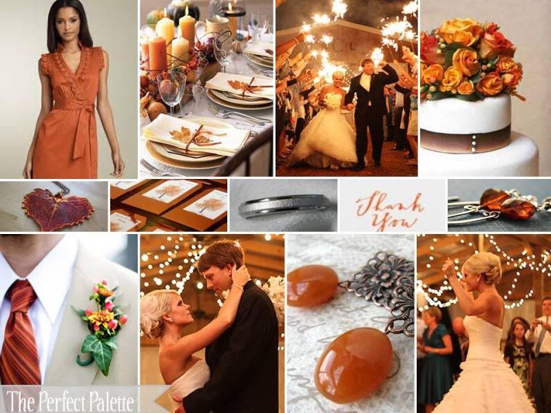 Copper and burnt orange wedding colors wedding