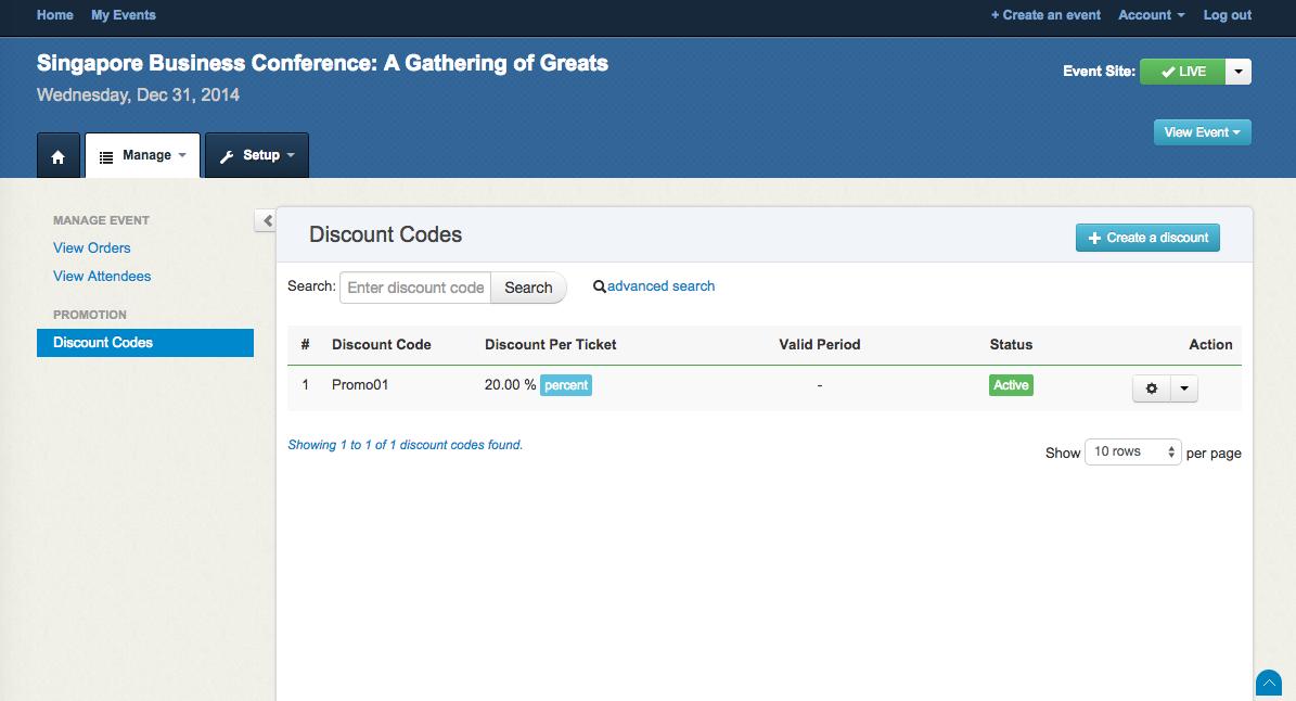 Create Discount Code