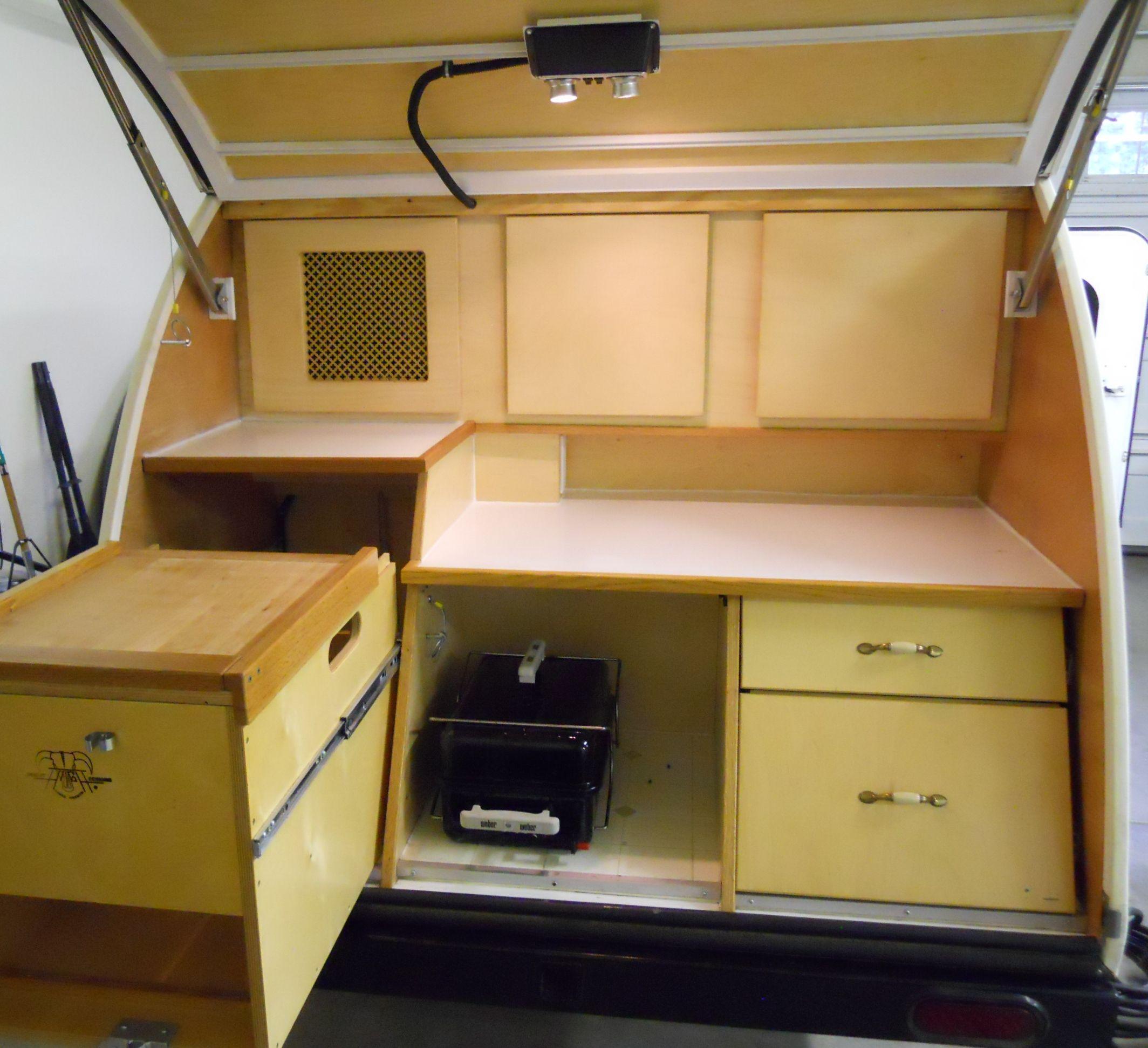 Galley kitchen teardrop camping pinterest for Teardrop camper kitchen ideas