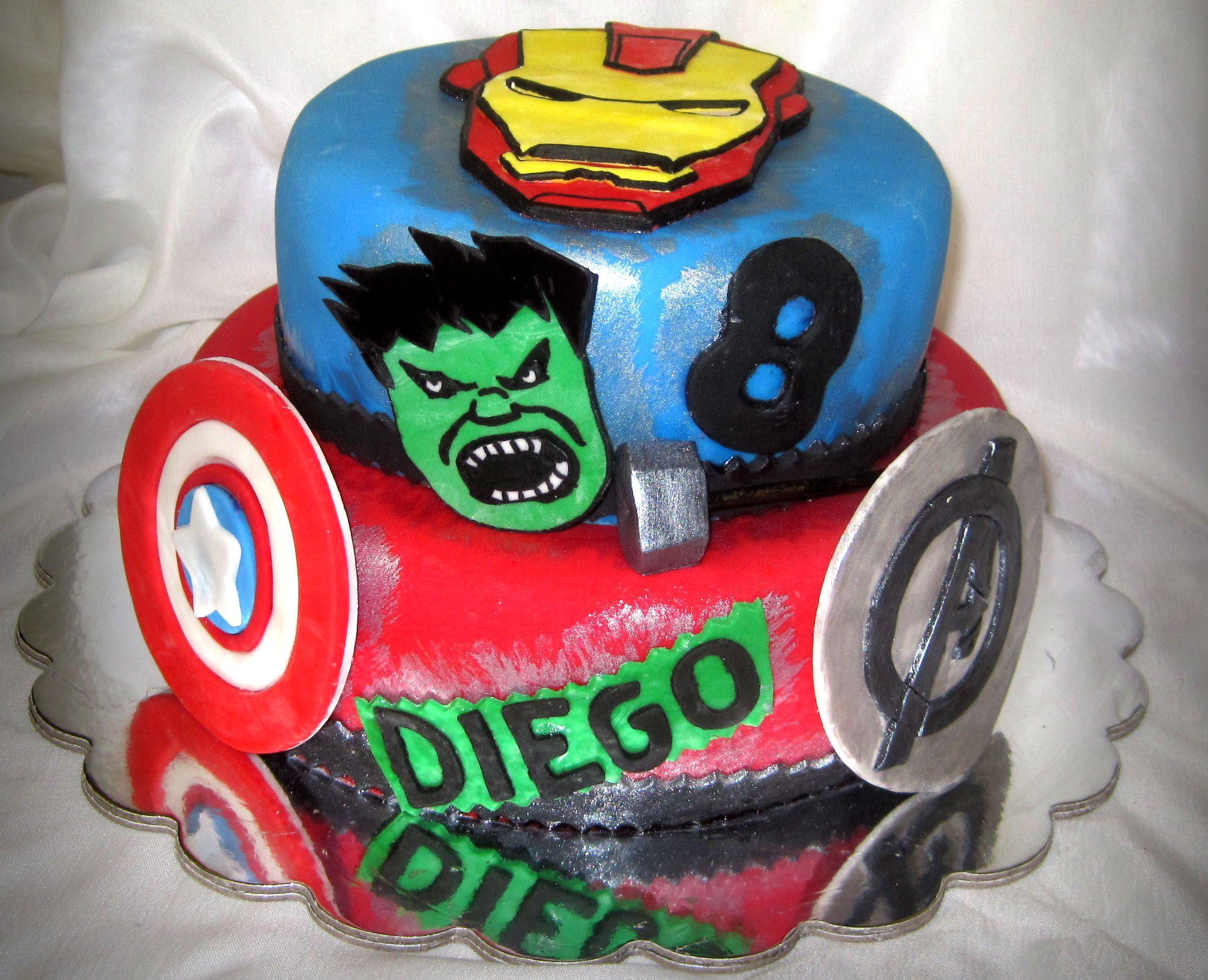 Avengers Cake  birthday ideas  Pinterest