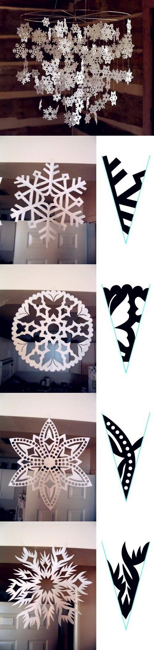 Paper snowflake cutting pattern easy to follow folding for Diy snowflakes paper pattern
