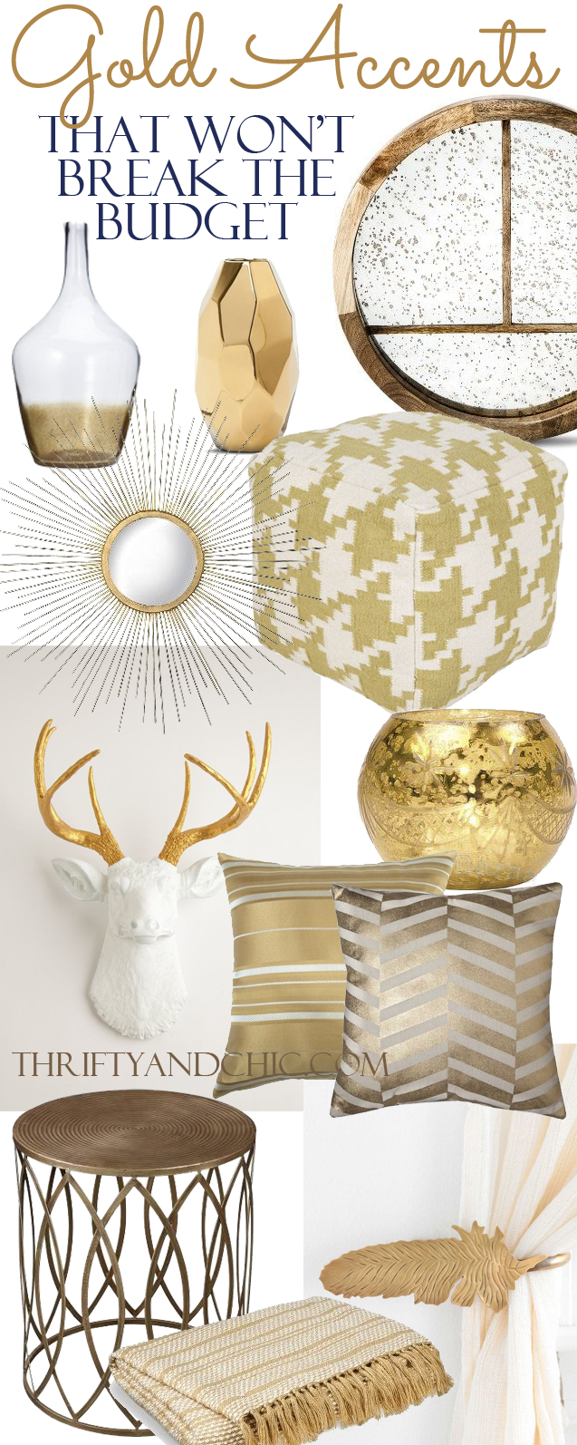 18 gold home decor pieces that wont breat the budget. Divided up into price!