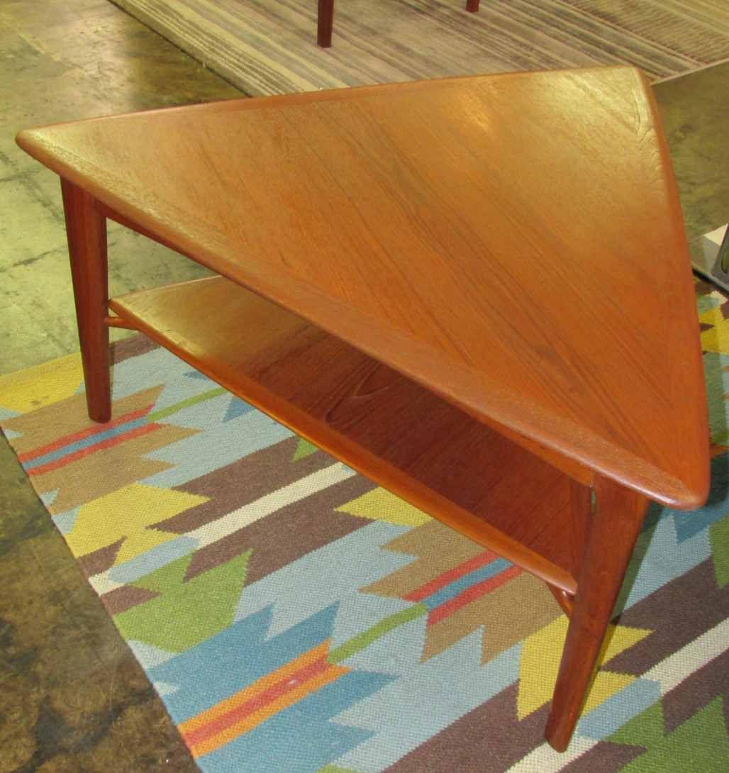 Teak triangle table with shelf living room pinterest