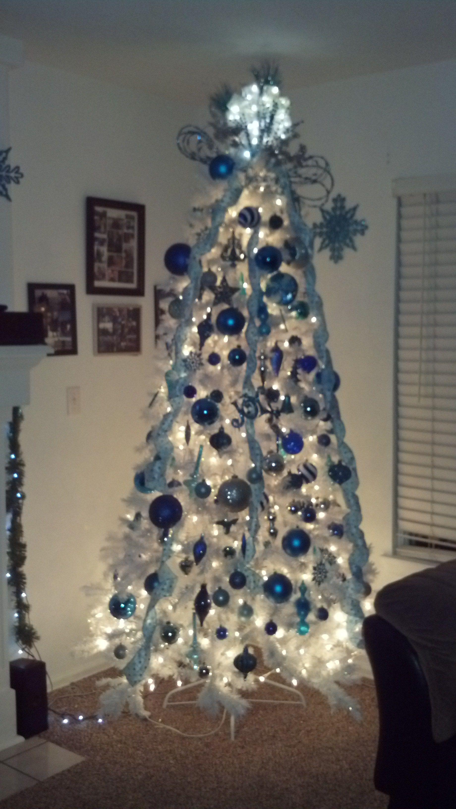 Aqua Silver Blue White Christmas Tree Christmas Tree