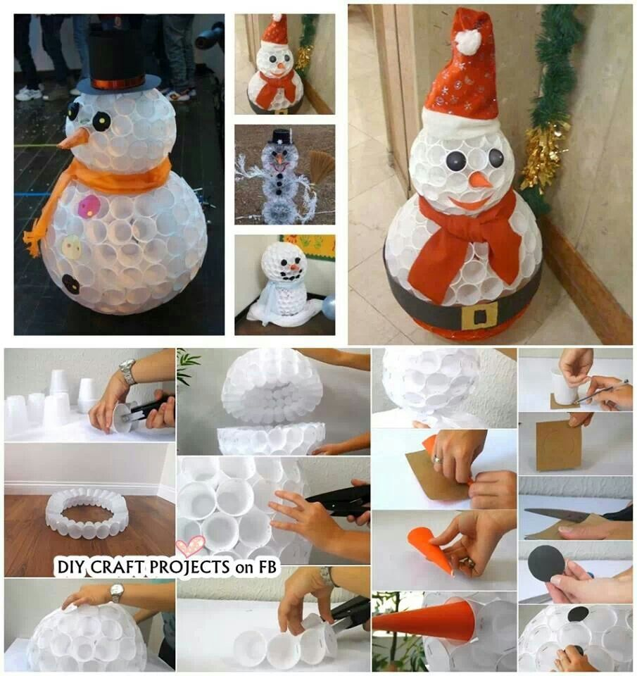 Snowman from plastic cups reduce re use recycle for Cup snowman