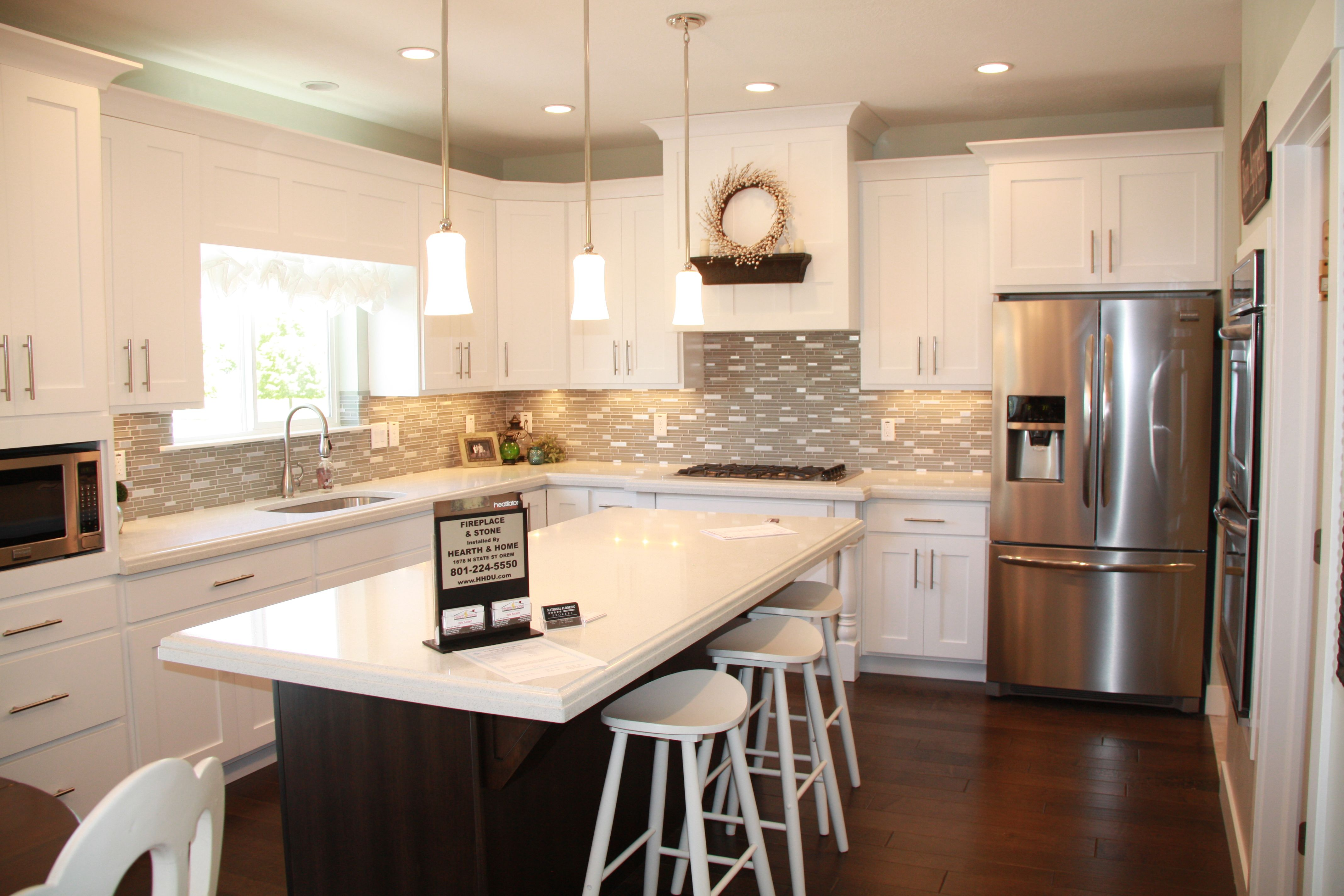 White Cabinets Dark Island Kitchen Dining Rooms Pinterest