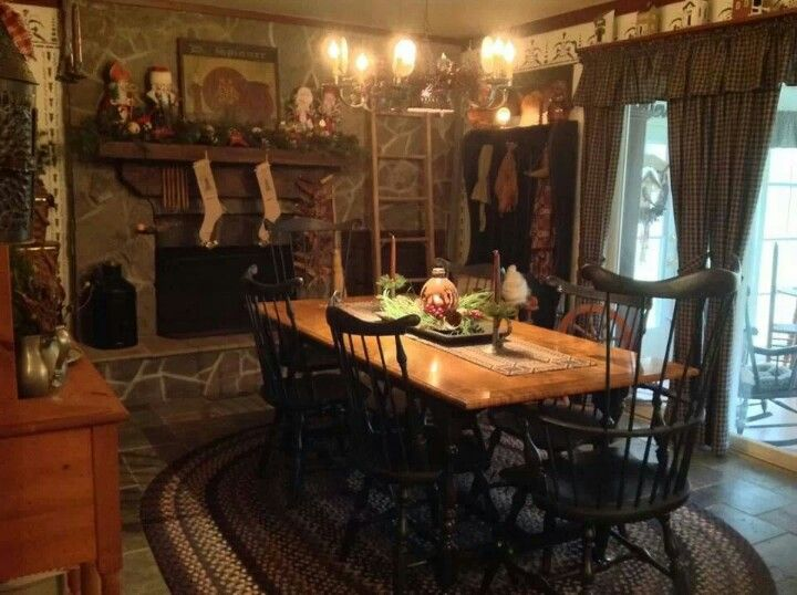 Prim christmas cottage christmas and braided rug on pinterest for Primitive country dining room ideas