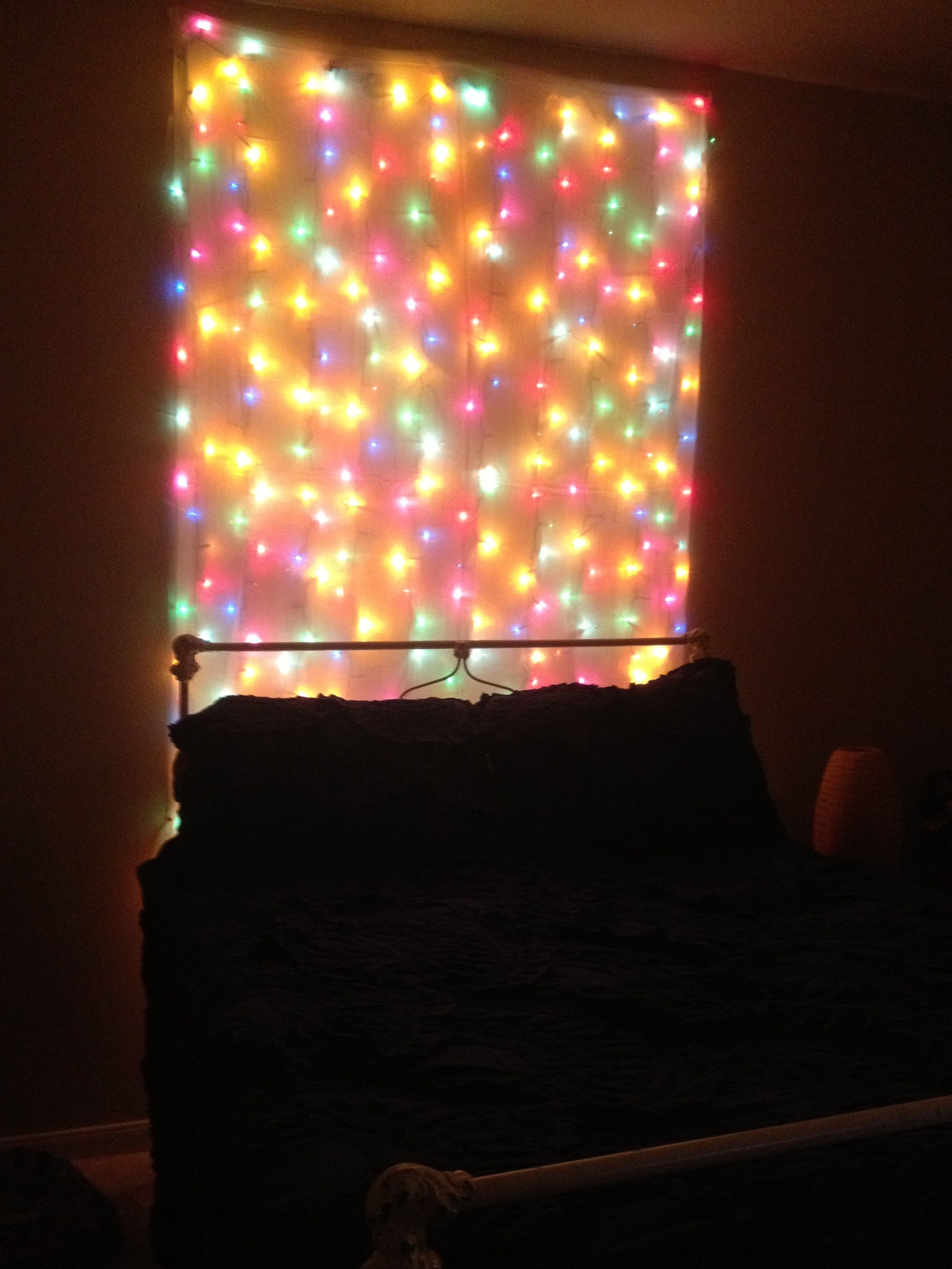 Christmas light headboard. :-) | Makeover Ideas | Pinterest
