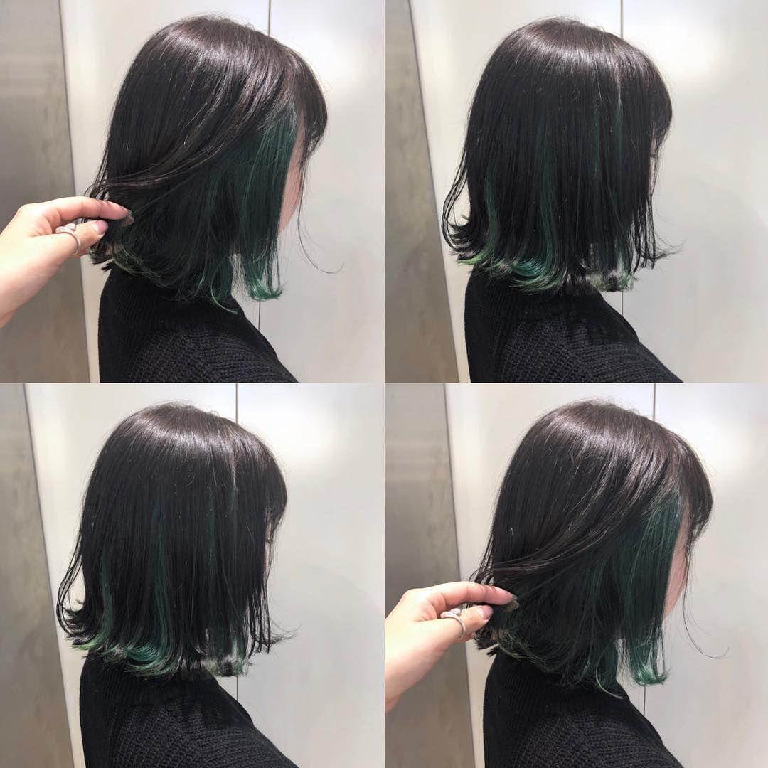 黒髪 ボブ インナーカラー 緑