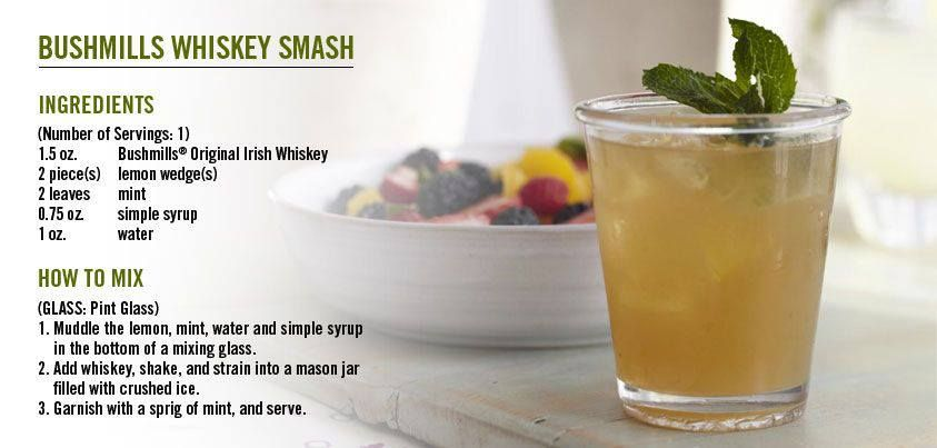 Bushmills Whiskey Smash | &alcoholic drinks | Pinterest