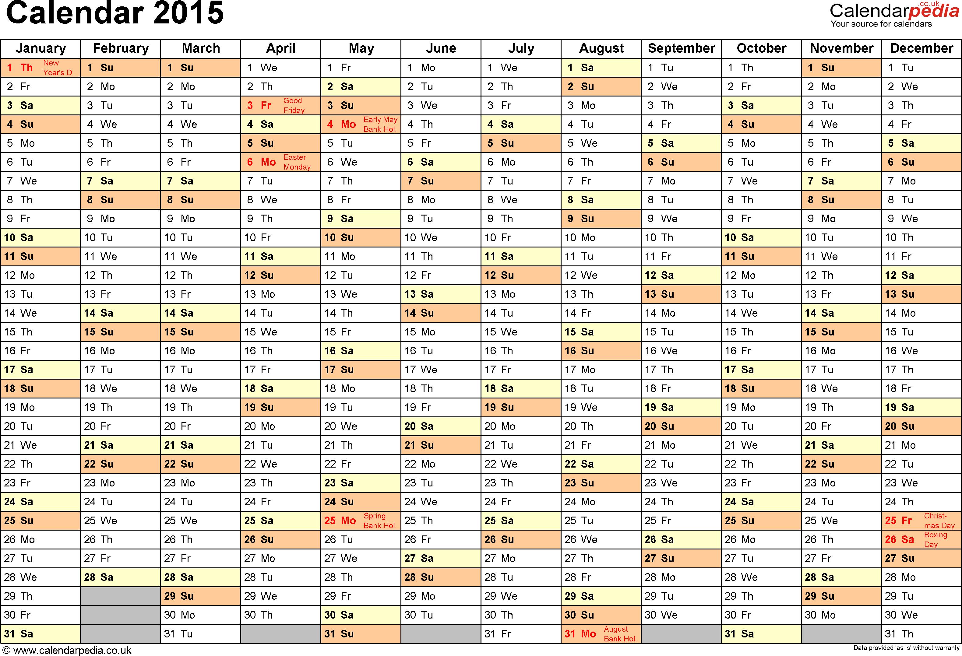 Blank Yearly Calendar 2015 – Printable Editable Blank