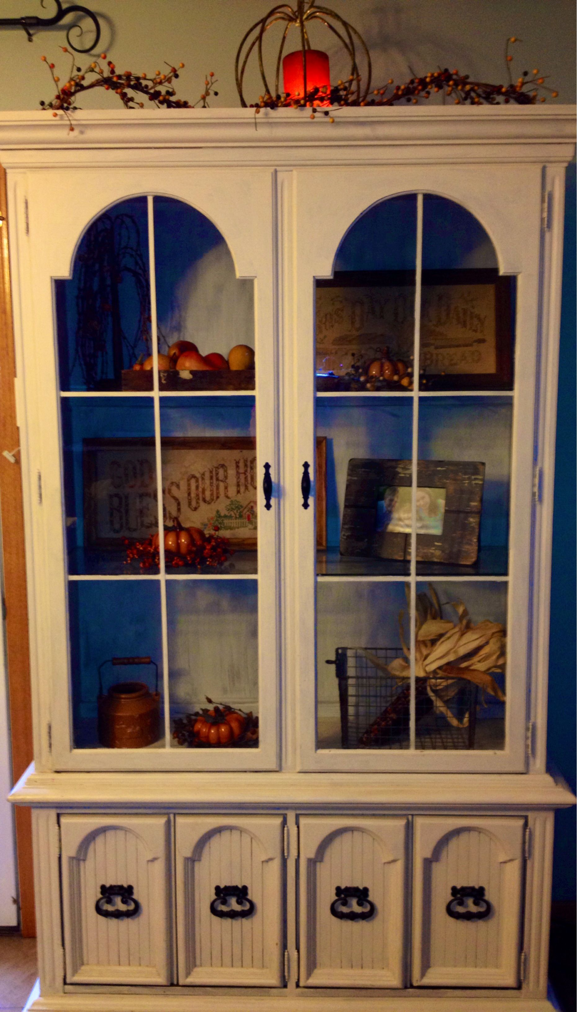 Fall decor china cabinet color ideas for my china - Decorating china cabinet ideas ...