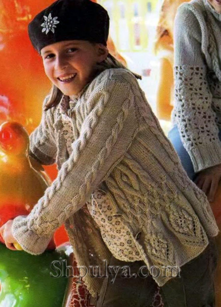 Вязаный кардиган своими руками для девочки