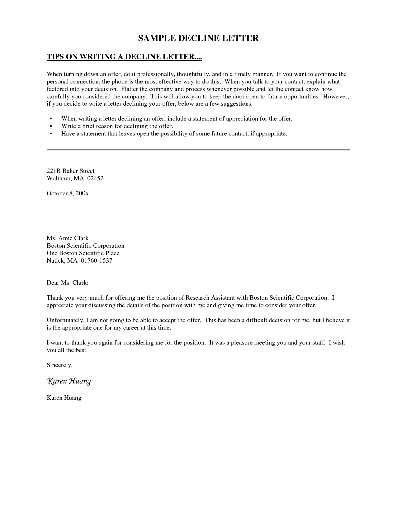 decline letter template