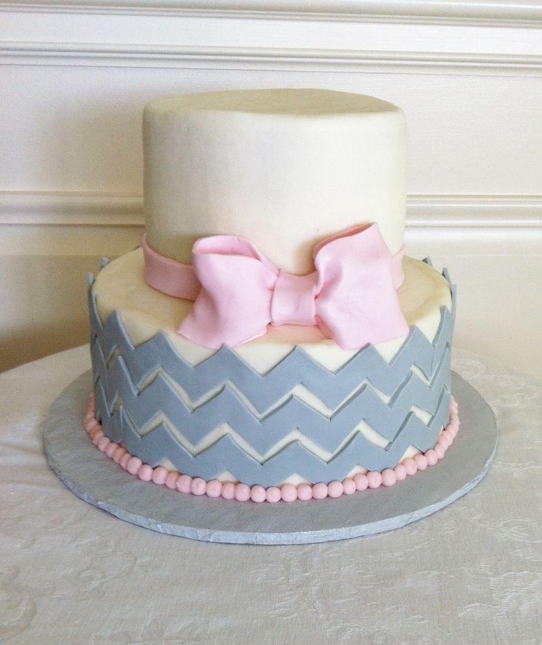 Chevron pattern baby shower cake maybe one day pinterest