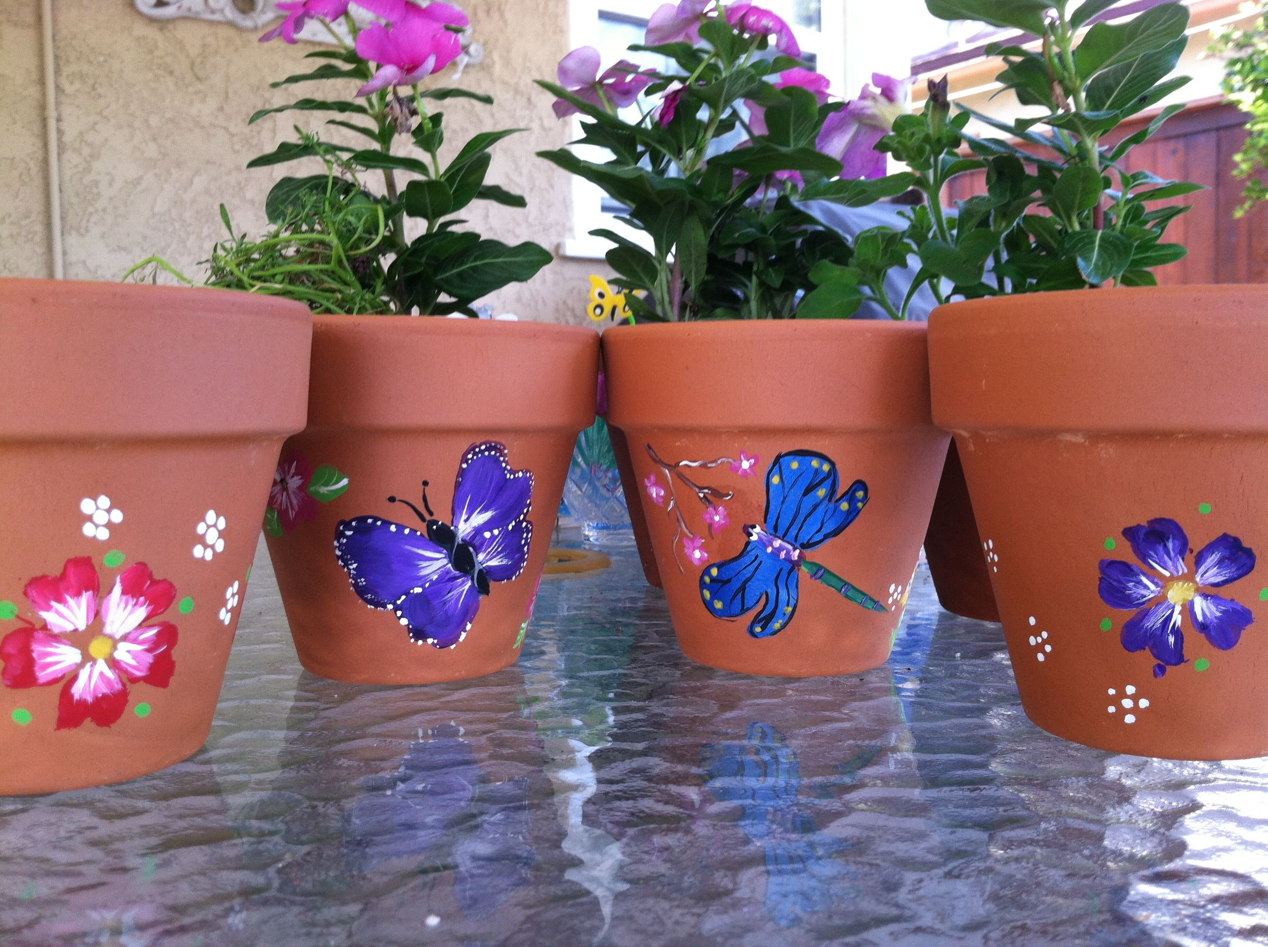 painted clay pots clay pot crafts pinterest. Black Bedroom Furniture Sets. Home Design Ideas