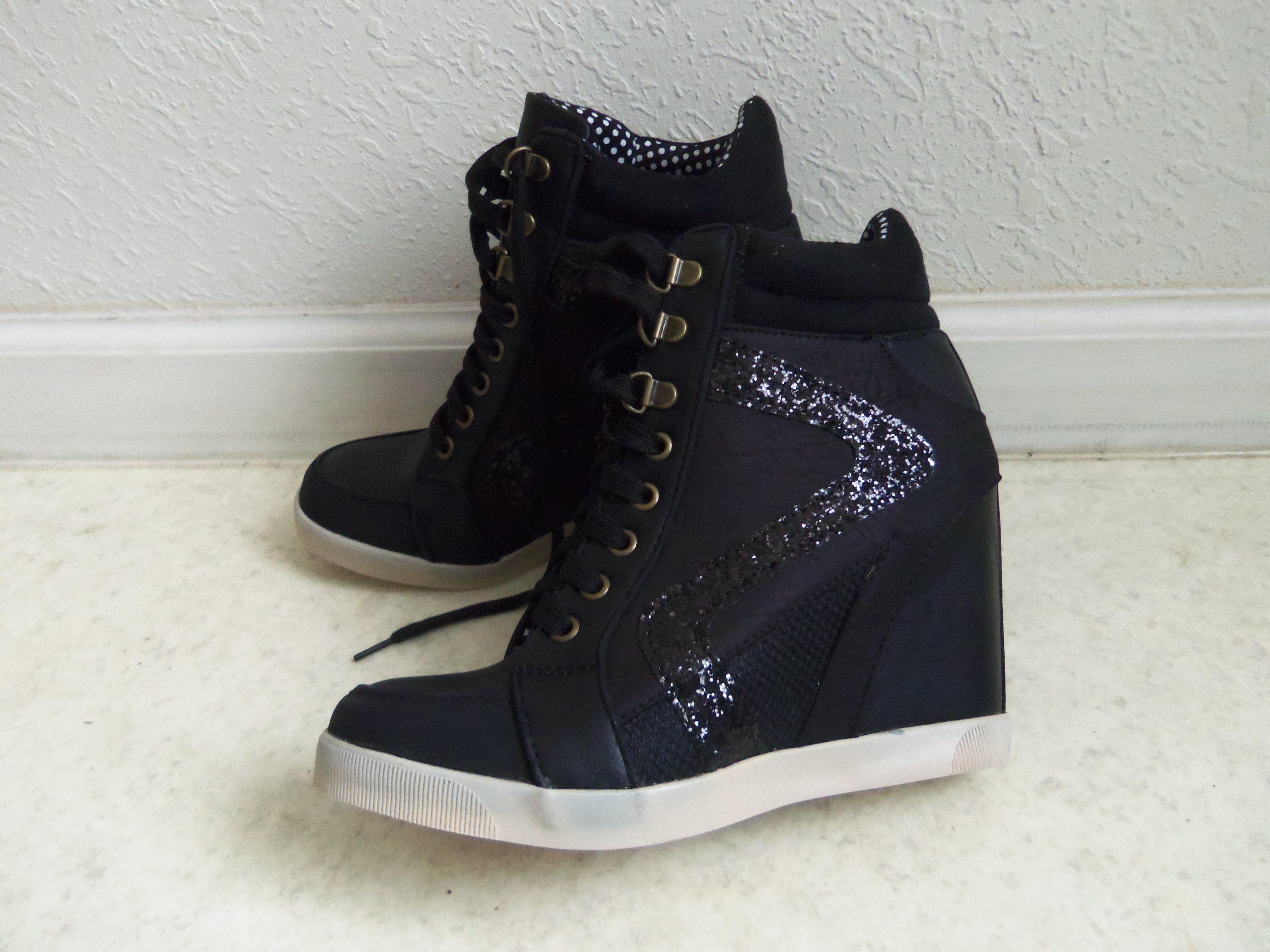 sparkly black wedges