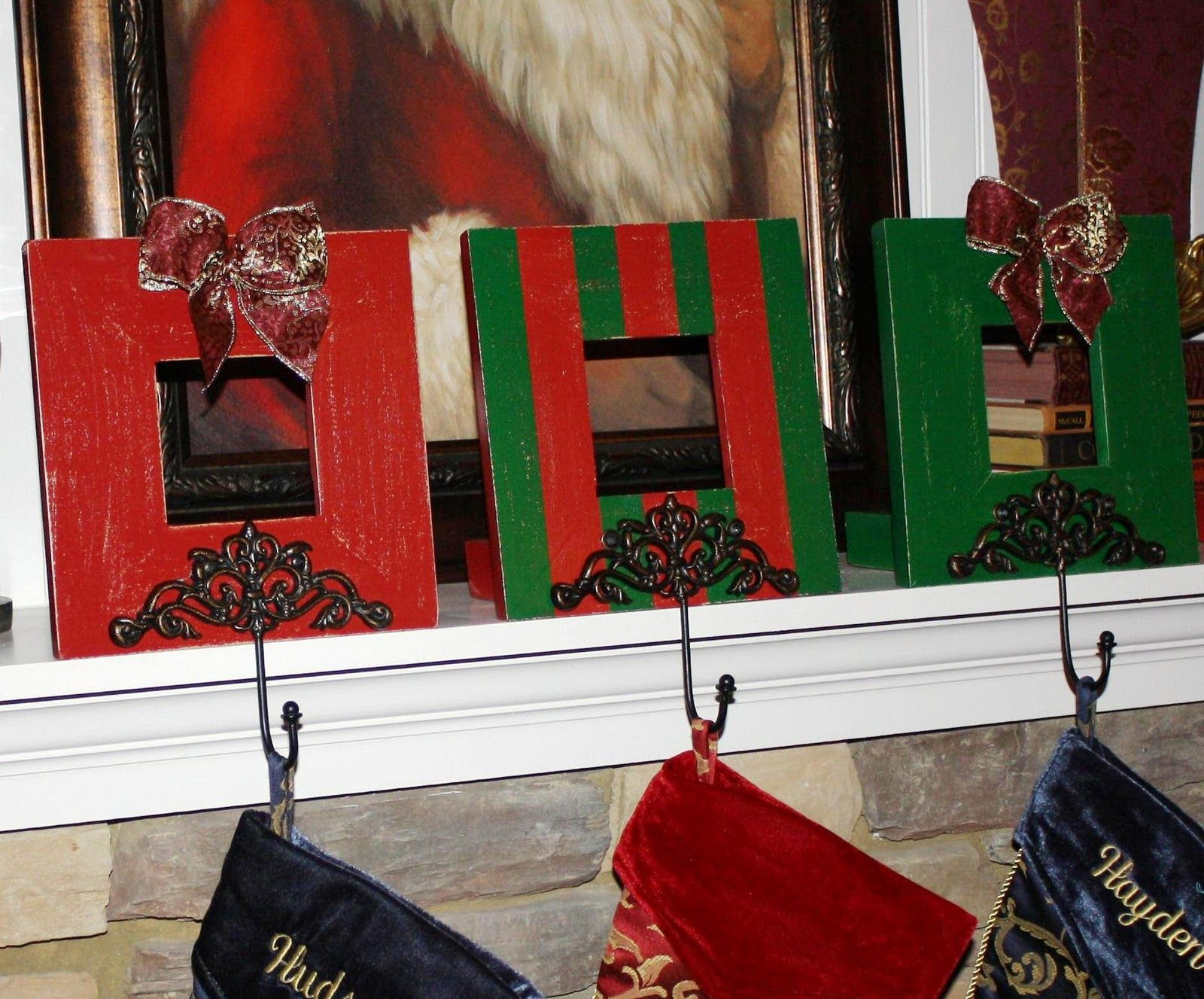 Picture frame stocking hanger