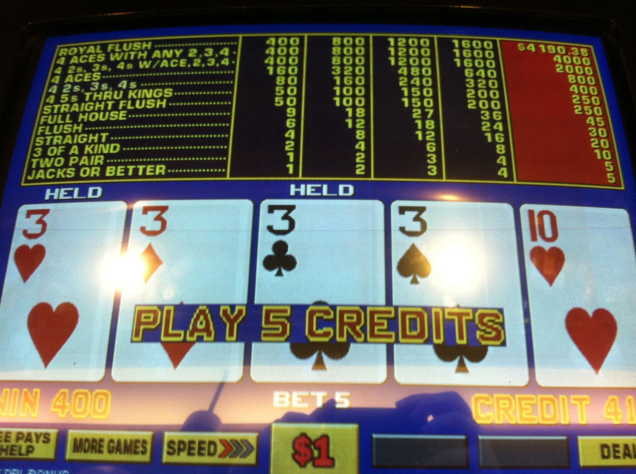 video poker double double bonus payouts