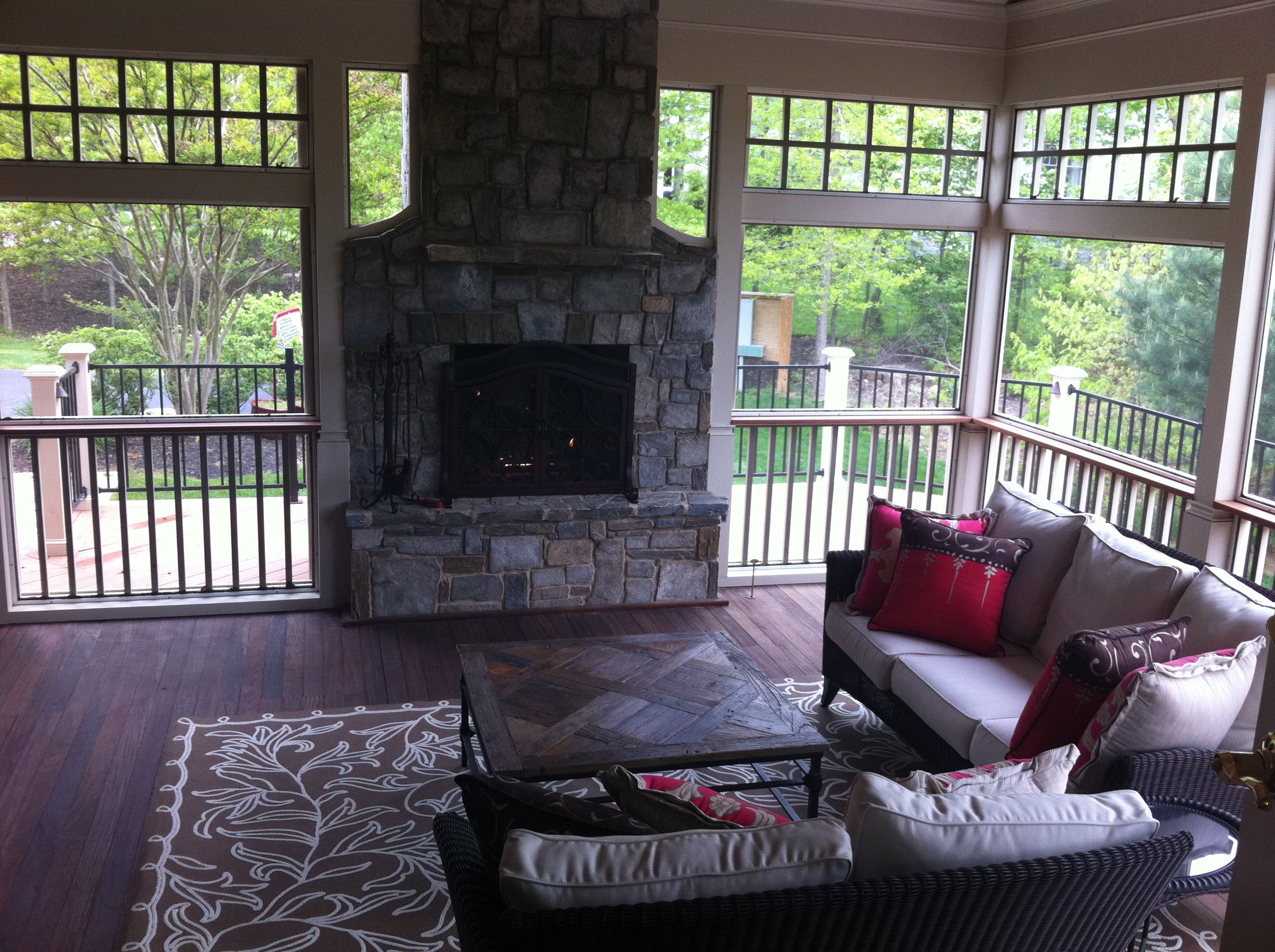 Screened In Porch With A Fireplace Homes Decorations And Ideas