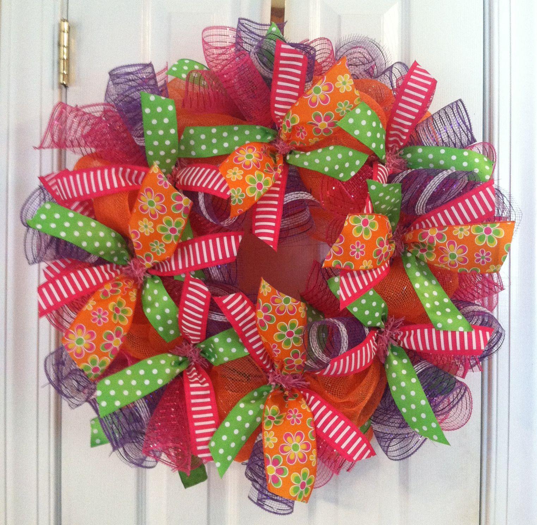 Fun colorful summer deco mesh wreath wreaths pinterest for Colorful summer wreaths