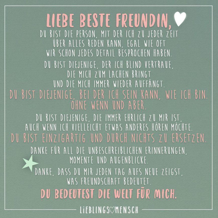 Liebe beste Freundin, du bist die Person, mit der ich zu jeder ...
