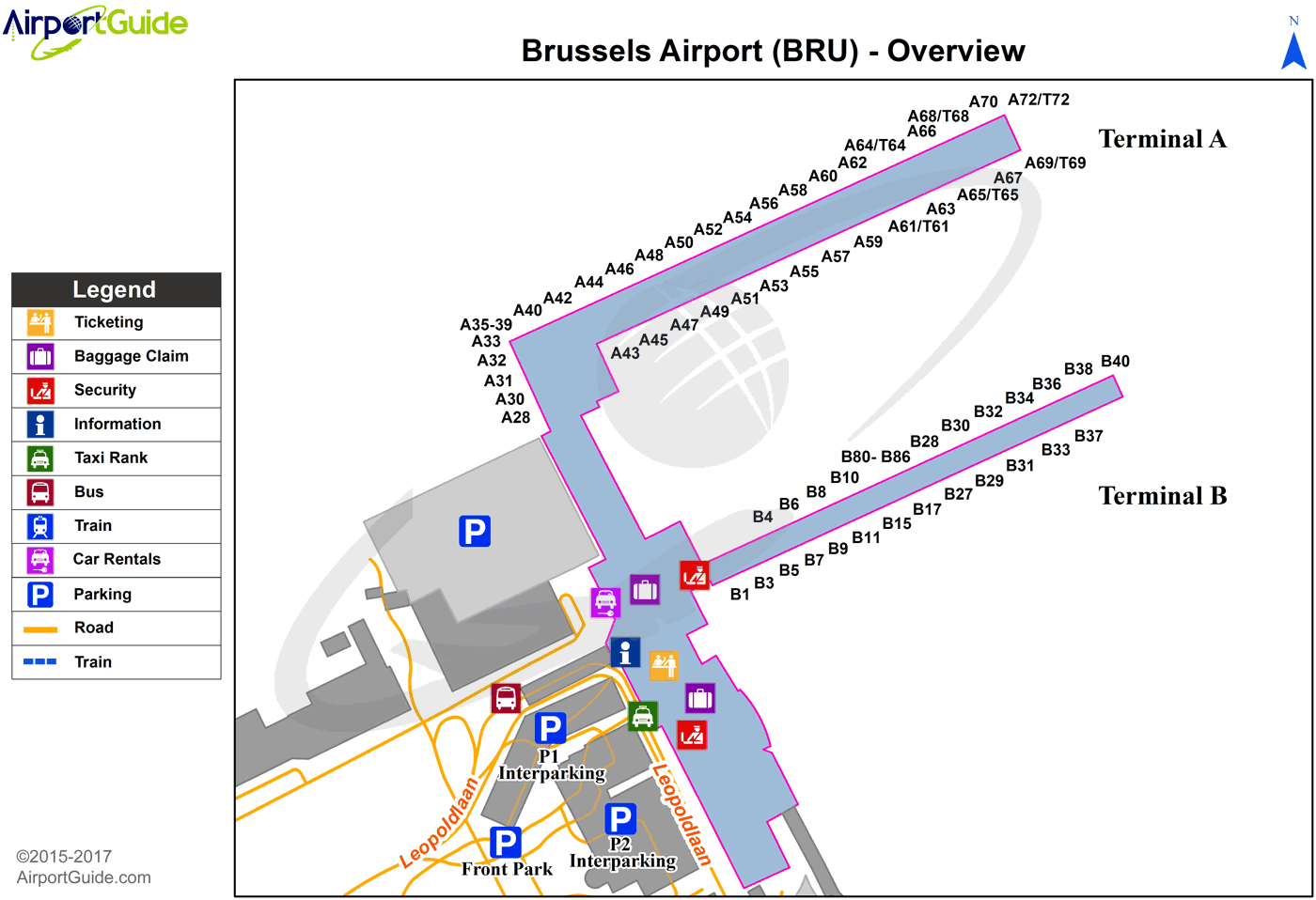 Brussels Brussels Bru Airport Terminal Map Overview