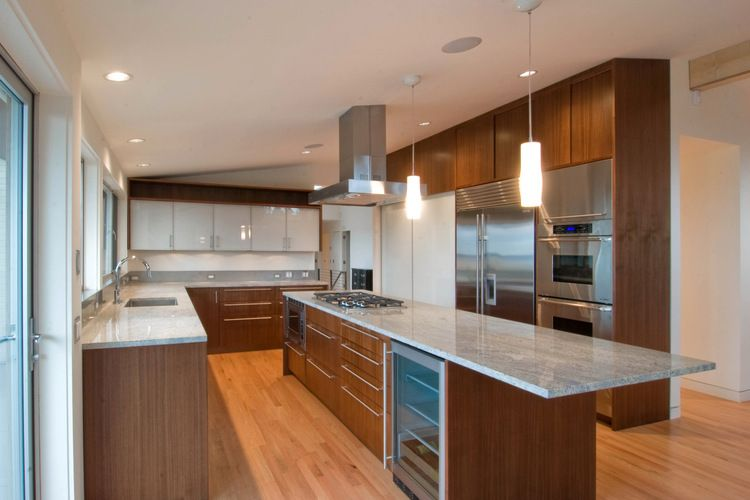 Great long narrow island wood cabinets kitchen ideas for Long kitchen cupboard