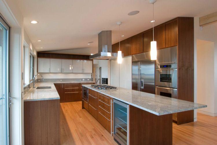 Great long narrow island wood cabinets kitchen ideas for Narrow kitchen cupboard ideas