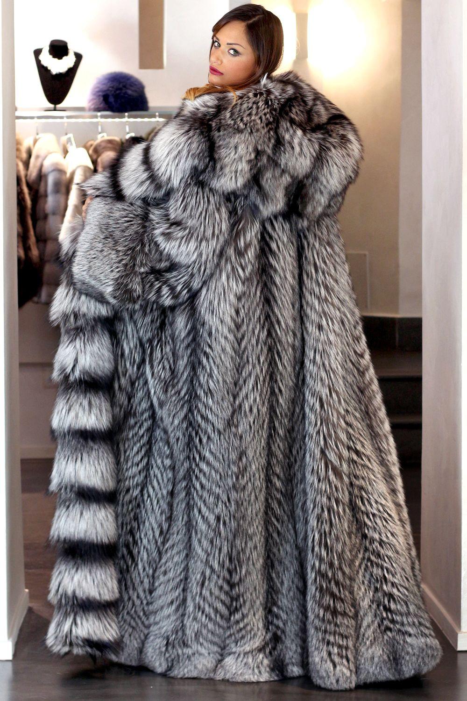 Faux Silver Fox Fur Coat | Santa Barbara Institute for