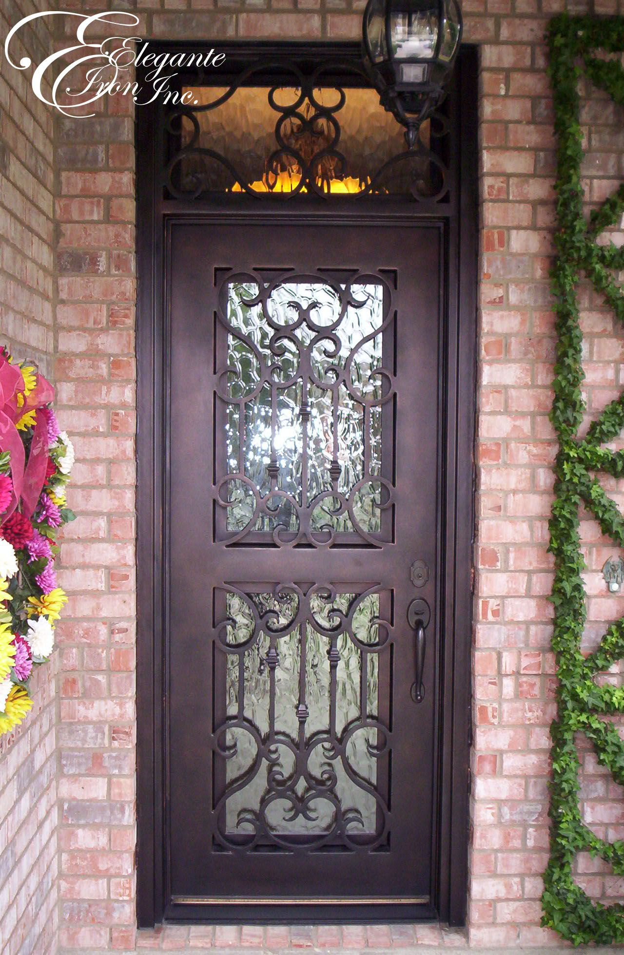 Custom wrought iron door with transom single doors for Custom transom