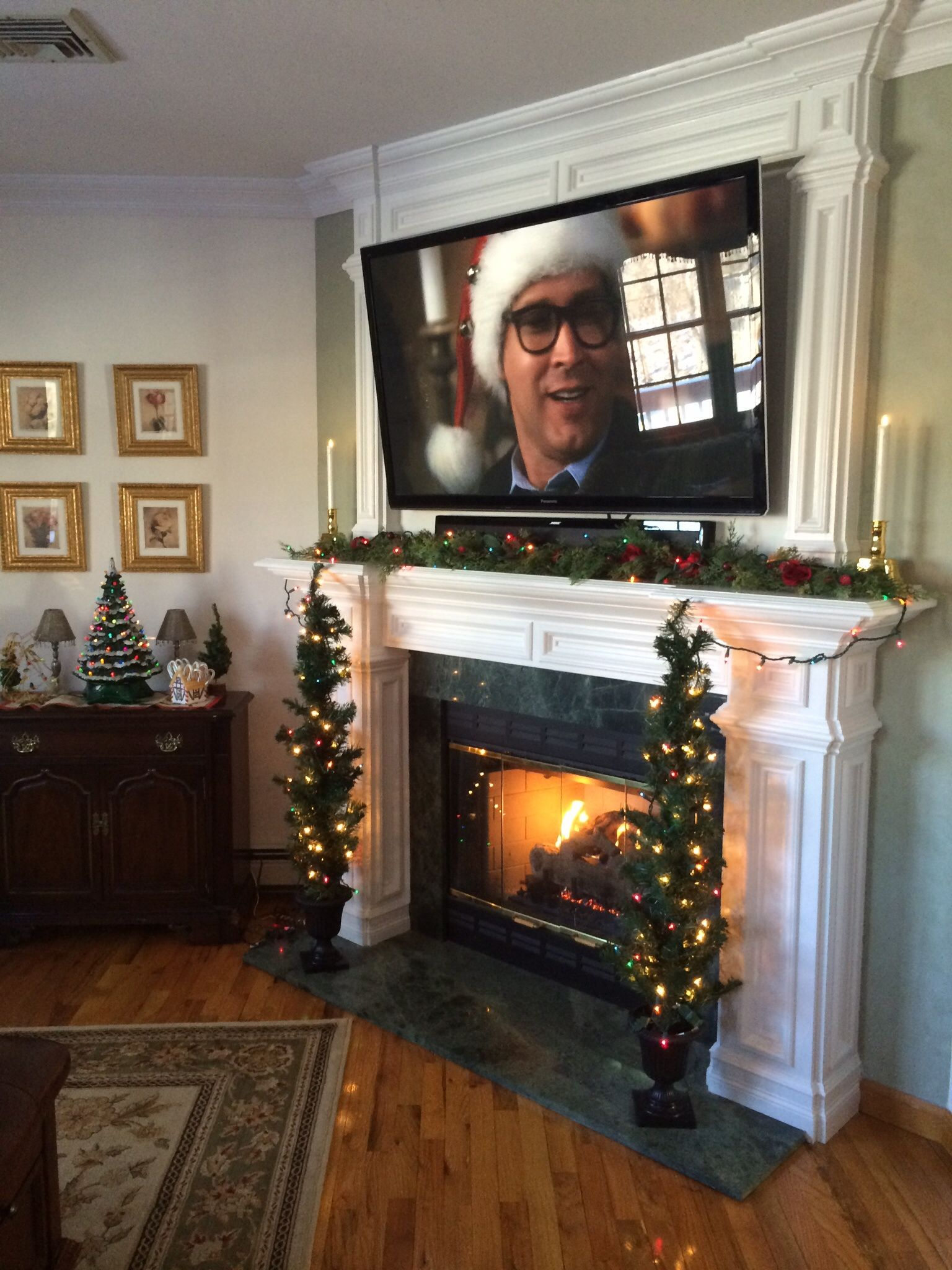 Tv above fireplace room ideas pinterest for Living room xmas ideas