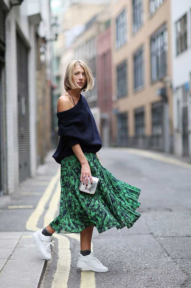 Image result for printed skirt street style
