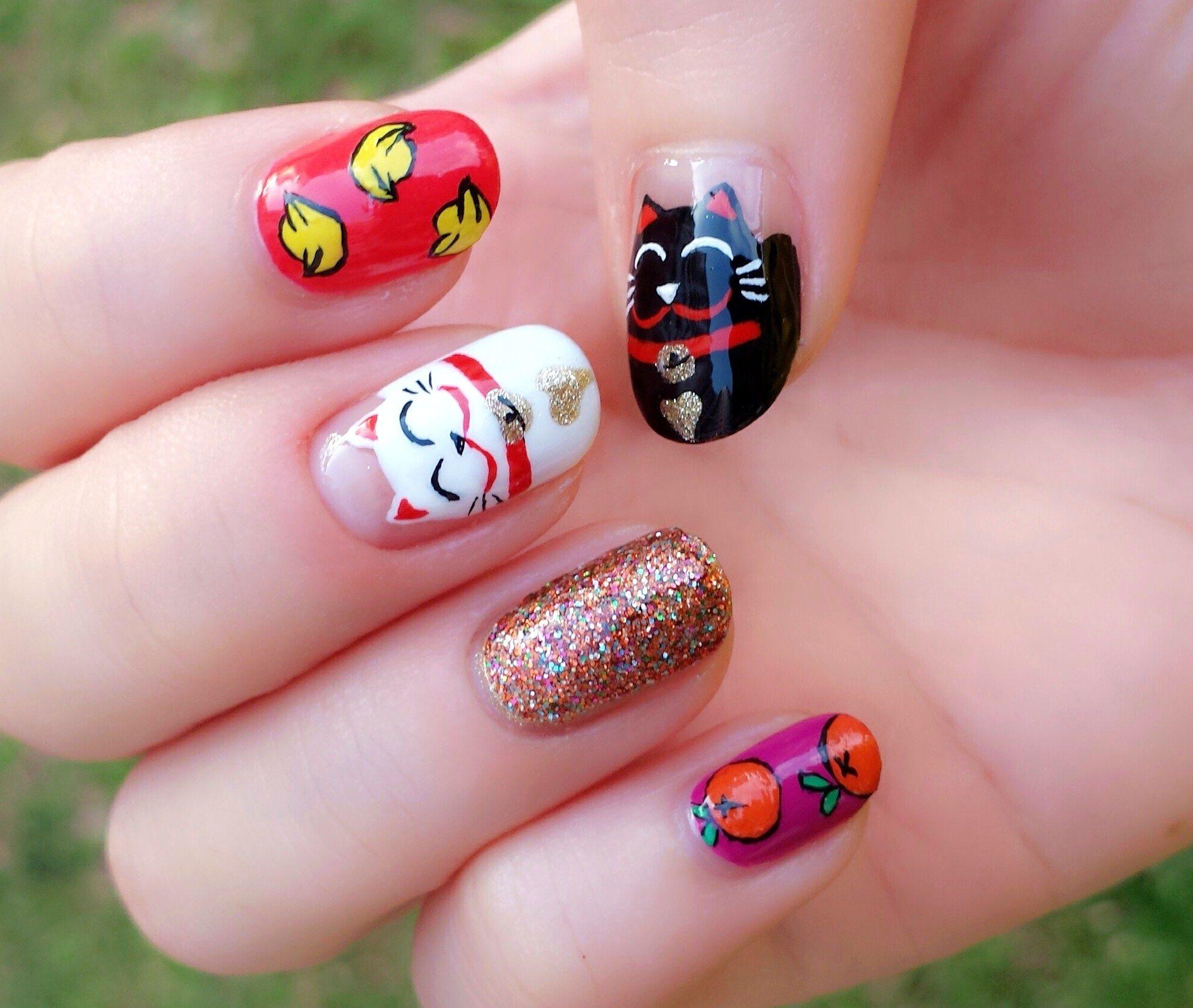 Котики рисунки на ногтях фото