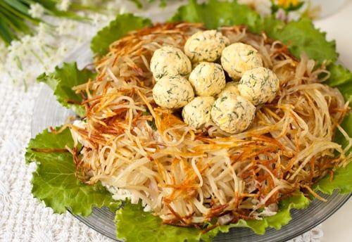 Салат гнездо глухаря салат рецепт пошагово в домашних условиях 98