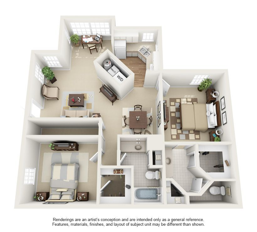 Pin by maria lynch on 3d house plans floor plans pinterest for 2 bedroom apartment plans 3d